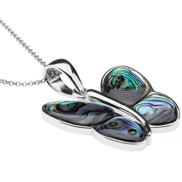 Pangea Mines Abalone Butterfly Pendant Necklace