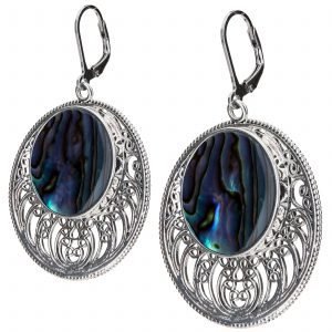 Pangea Mines Abalone Openwork Disc Drop Earrings