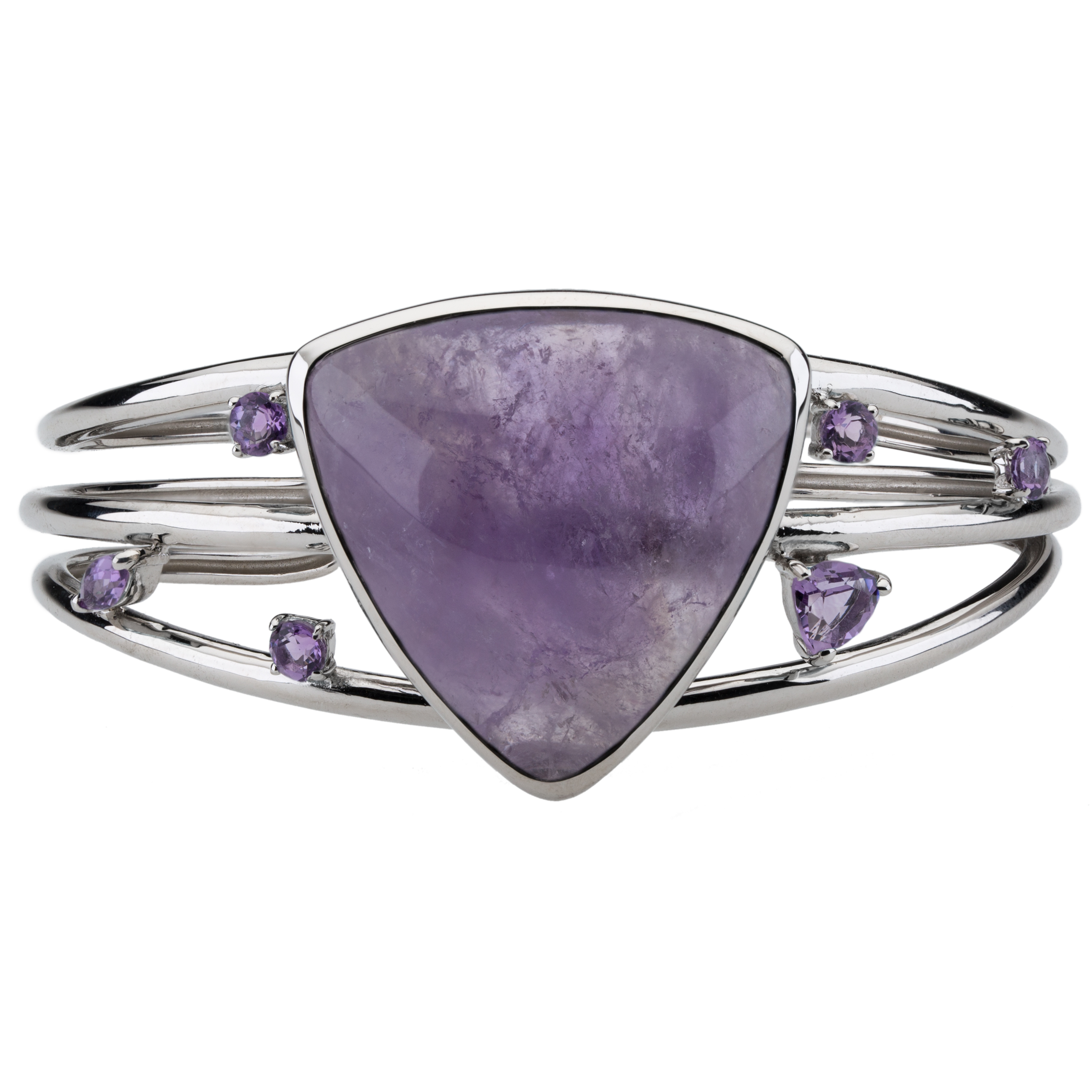 Natural Triangle Trillion faceted Large Amethyst Silver Pendant.