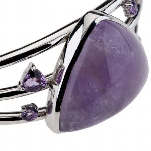 Pangea Mines Amethyst Trillion Shaped Multi Gemstone Cuff Bracelet