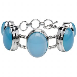 Pangea Mines Aqua Chalcedony Adjustable Toggle Bracelet