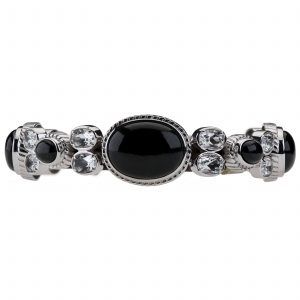 Pangea Mines Black Moonstone and White Topaz Bracelet