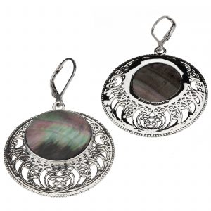 Pangea Mines Black Mother of Pearl Openwork Disc Drop Earrings