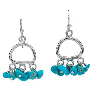 Pangea Mines Chip Shaped Turquoise Dangle Drop Earrings