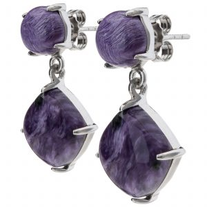 Pangea Mines Cushion & Round Shaped Charoite Drop Earrings