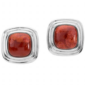 Pangea Mines Cushion Shaped Red Sponge Coral Stud Earrings