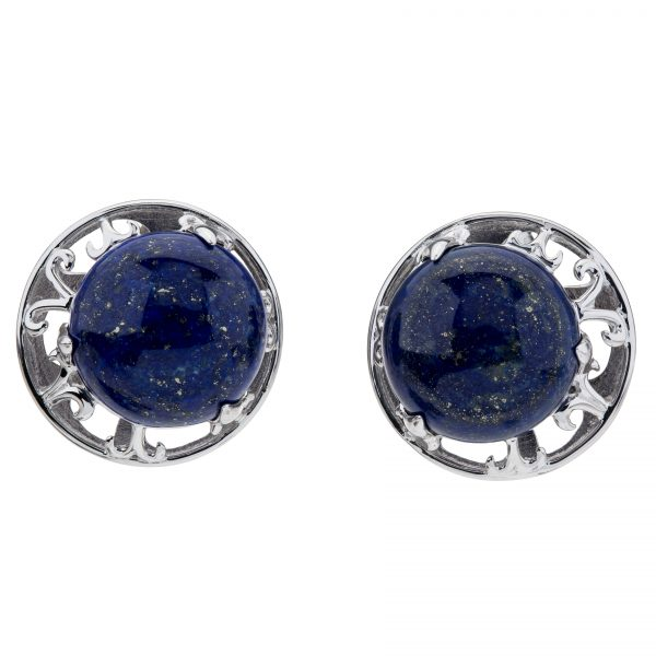 Pangea Mines Lapis Button Stud Earrings