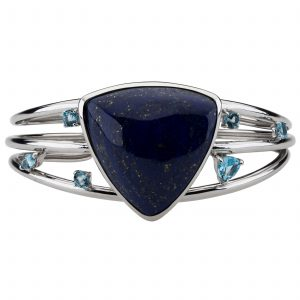 Pangea Mines Lapis Trillion Shaped Multi Gemstone Cuff Bracelet