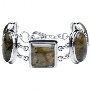 Pangea Mines Multi Shape Labradorite Adjustable Toggle Bracelet