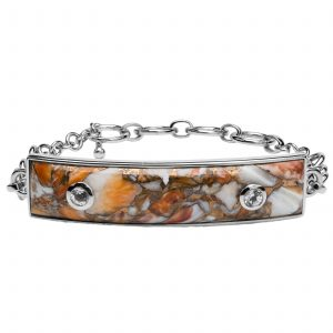 Pangea Mines Orange Spiny Oyster & White Topaz Toggle Bracelet