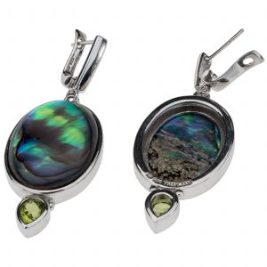 Pangea Mines Oval Abalone & Peridot Earrings
