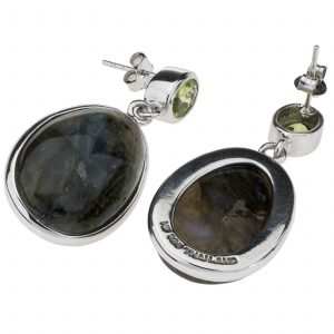 Pangea Mines Oval Labradorite and Peridot Earrings
