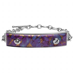 Pangea Mines Purple Mohave Turquoise & White Topaz Toggle Bracelet