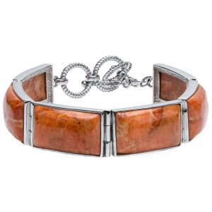 Pangea Mines Sterling Silver 9.5-inch Rectangular Shaped Apple Coral Toggle Bracelet
