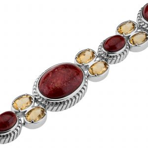 Pangea Mines Red Coral and Citrine Bracelet