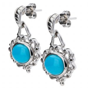 Pangea Mines Sleeping Beauty Turquoise Scroll Earrings