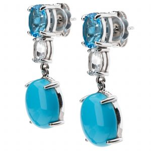 Pangea Mines Sonora Beauty Turquoise with White & Blue Topaz Earrings