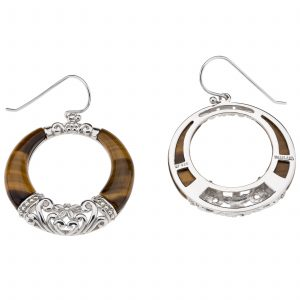 Pangea Mines Tiger's Eye Dangle Circle Earrings