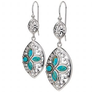Pangea Mines Turquoise Marquise Shaped Drop Earrings