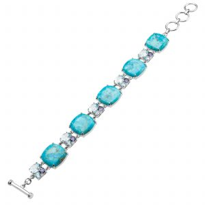 Pangea Mines Turquoise & Multi Gemstone Adjustable Toggle Bracelet