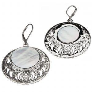 Pangea Mines White Mother of Pearl Openwork Disc Drop Earrings
