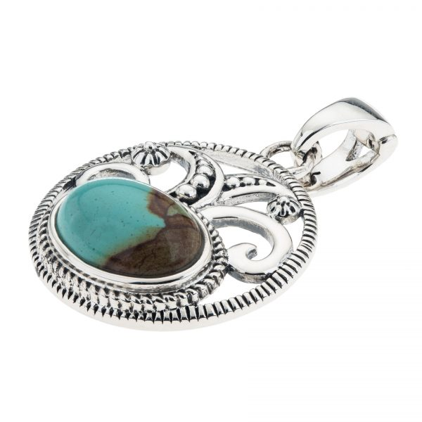 "Pangea Mines 14x10mm Oval #8 Mine Turquoise Enhancer Pendant with 18"" Chain"