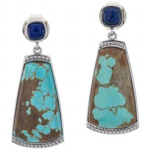 "Pangea Mines 1.75"" Turquoise and Lapis Gemstone Textured Drop Earrings"