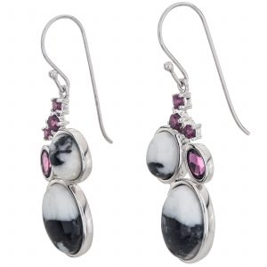 "Pangea Mines 1.75"" White Buffalo and Rhodolite Garnet Drop Earrings"