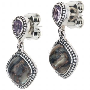 "Pangea Mines 1"" Bronze Abalone and Amethyst Beaded Drop Earrings"
