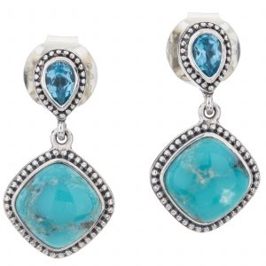"Pangea Mines 1"" Campo Frio Turquoise and Swiss Blue Topaz Beaded Drop Earrings"