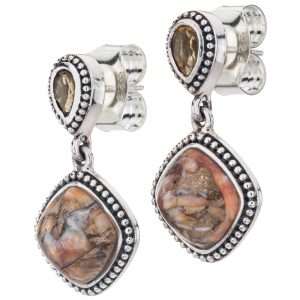 "Pangea Mines 1"" Compressed Spiny Oyster and Citrine Beaded Drop Earrings"