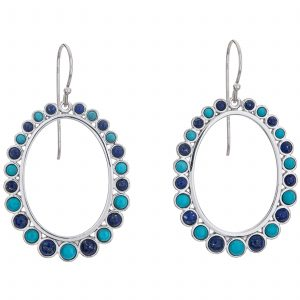 "Pangea Mines 2"" Sonora Beauty Turquoise and Lapis Front-Facing Hoop Earrings"