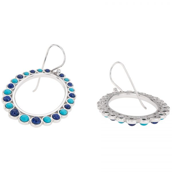 """Pangea Mines 2"""" Sonora Beauty Turquoise and Lapis Front-Facing Hoop Earrings"""