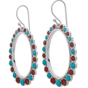 "Pangea Mines 2"" Sonora Beauty Turquoise and Red Coral Front-Facing Hoop Earrings"