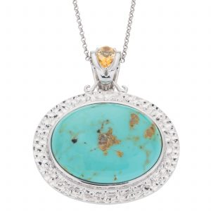 "Pangea Mines 30x23mm Oval #8 Turquoise Enhancer Pendant with 18"" Chain"