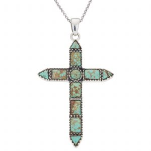 "Pangea Mines #8 Mine Turquoise Cross Pendant with 18"" Rolo Chain"
