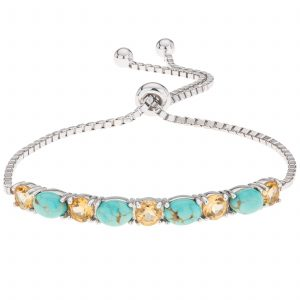 Pangea Mines #8 Mine Turquoise and Citrine Adjustable Slide Bracelet