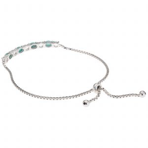 Pangea Mines Campitos Turquoise and White Topaz Adjustable Slide Bracelet