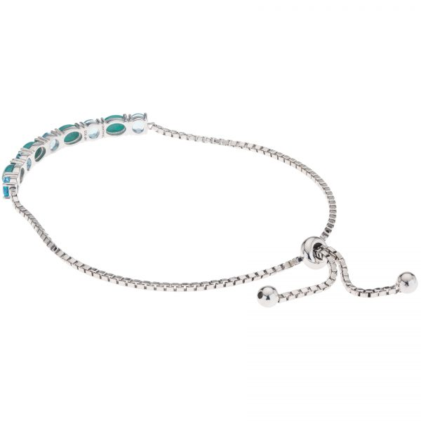 Pangea Mines Campo Frio Turquoise and Swiss Blue Topaz Adjustable Slide Bracelet