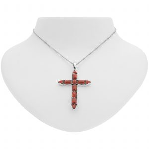 "Pangea Mines Dyed Red Coral Cross Pendant with 18"" Rolo Chain"