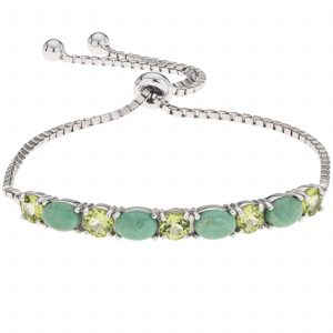 Pangea Mines Evans Turquoise and Peridot Adjustable Slide Bracelet