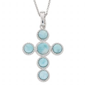 "Pangea Mines Larimar Cross Enhancer Pendant with Complementary 18"" Rolo Chain"