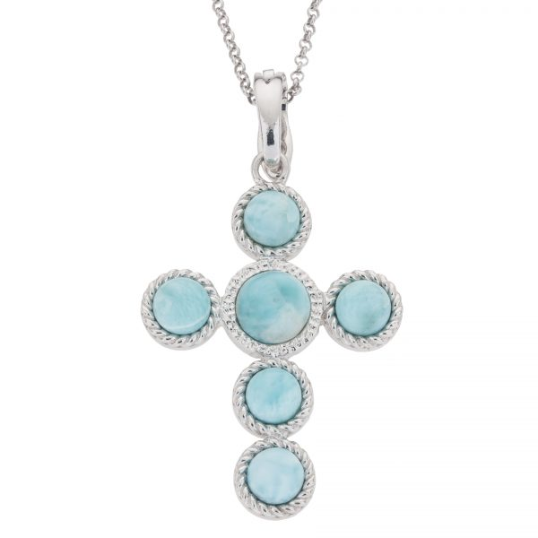 """Pangea Mines Larimar Cross Enhancer Pendant with Complementary 18"""" Rolo Chain"""
