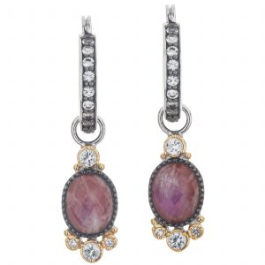 Pangea Mines Rainbow Moonstone/Jasper and White Topaz Doublet Drop Earrings