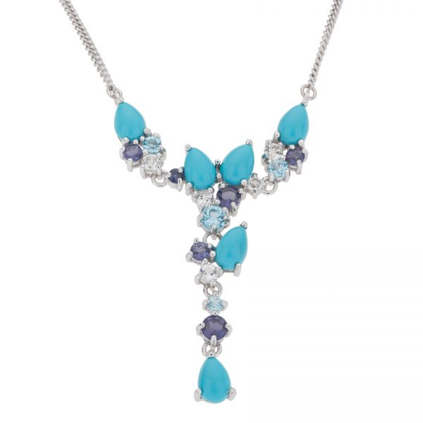 Pangea Mines Sonora Beauty Turquoise, White Topaz and Iolite Y Necklace