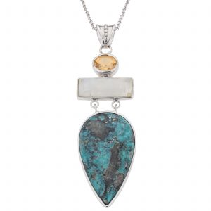 Pangea Mines Turquoise, Rainbow Moonstone and Citrine Pendant Necklace