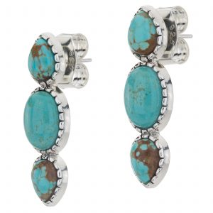 "Pangea Mines Sterling Silver 1.25"" Oval & Pear Shaped Gemstone 3-Stone Earrings"