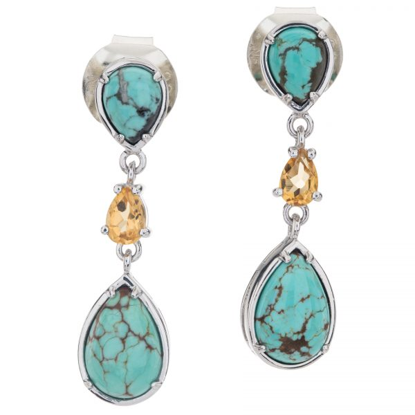 "Pangea Mines Sterling Silver 1.5"" #8 Turquoise & Citrine 3-Stone Drop Earrings"