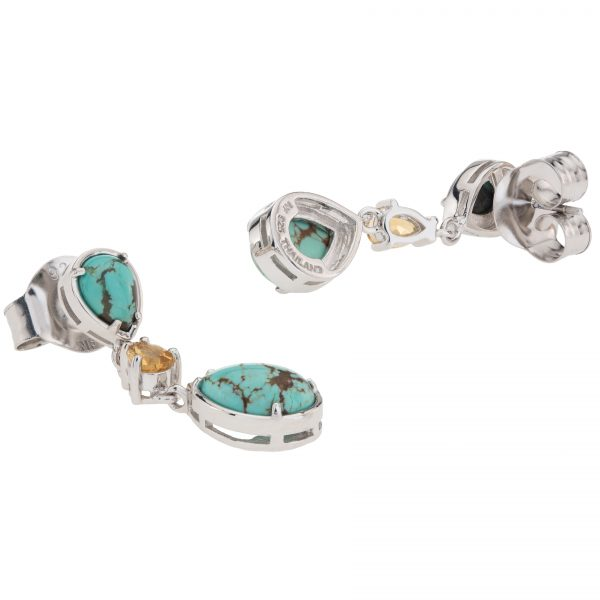 """Pangea Mines Sterling Silver 1.5"""" #8 Turquoise & Citrine 3-Stone Drop Earrings"""
