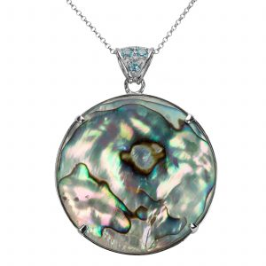 Sterling Silver 40mm Abalone & Multi Gemstone Reversible Pendant
